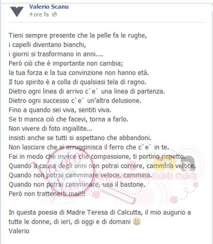 Famoso Valerio Scanu scrive su fb: in questa poesia di Madre Teresa di  LW72