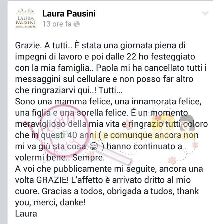 Bien connu Laura Pausini ringrazia per gli auguri di compleanno tutti i suoi  MA06