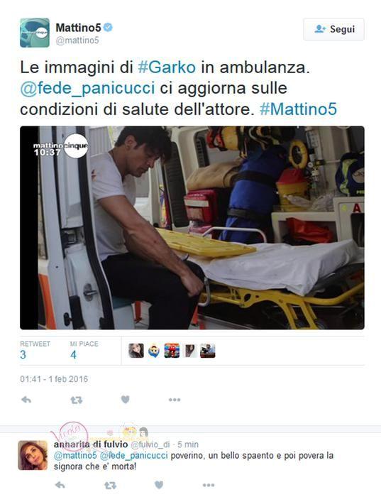 Ciao, abbiamo incorporato un tweet di Mattino 5 in cui si vede Garko in ambulanza. Potreste ritagliarcelo per l?apertura lasciando il logo mattino5? Grazie, Enrica